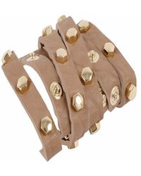 STYLESTRING - Multi Functional Accessory Pyramid Stud Gold On Tan - Lyst