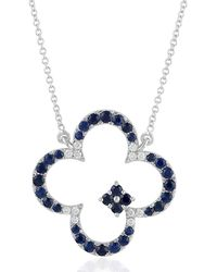 Artisan 18k White Gold Clover Necklace With Pave Diamonds And Blue Sapphire