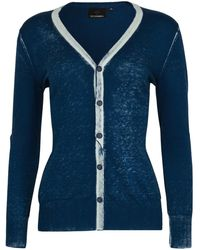 NY CHARISMA Blue Cotton Hand Print Cardigan