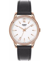 Henry London - Ladies 39mm Richmond Leather Watch With Stone Set Bezel - Lyst