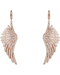 LÁTELITA London Angel Wing Drop Earring Rosegold White - Pink