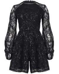 True Decadence Black Floral Sequin Long Sleeve Playsuit