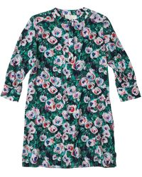 Lindsay Nicholas New York Silk Shirt Dress In Green & Pink Peony