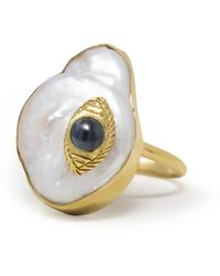 Vintouch Italy The Eye Gold-plated Blue Sapphire & Pearl Ring