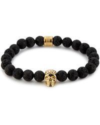 Northskull Lavastone & Perforated Gold Skull Charm Bracelet - Metallic