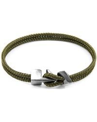 Anchor & Crew Khaki Green Brixham Silver & Rope Bracelet - Multicolour