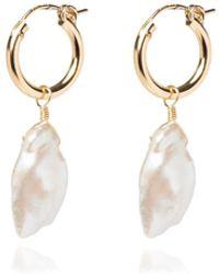Coco Mango Jewellery Lolana 14k Gold Pearl Hoop Earrings - Metallic