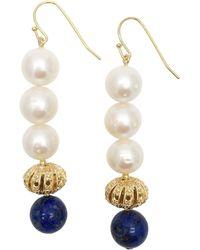 Farra Round Freshwater Pearls & Natural Lapis Lazuli Drop Earrings - Blue