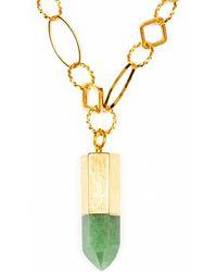 Tiana Jewel Goddess Green Quartz Gemstone Necklace Bullet Point