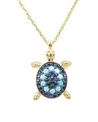 LÁTELITA London Turquoise Turtle Pendant Necklace Gold - Metallic