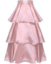 True Decadence Light Mauve Satin High Waisted Tiered Midi Skirt - Pink