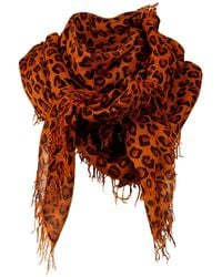 Asneh Kitty Large Leopard Print Cashmere Scarf In Brown