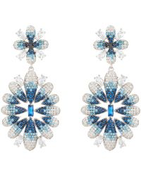 LÁTELITA London Babylon Ice Blue Gradient Flower Drop Earrings Silver