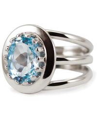 Vintouch Italy - Spiral Blue Topaz Ring - Lyst