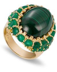 Coco & Kinney Martha Mae Malachite Ring In Gold - Metallic
