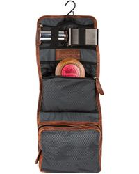 MAHI Leather Hanging Wash Toiletry Bag Dopp Kit In Vintage Brown With Hook