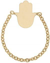 Talia Naomi | Hamsa Chain Ring Yellow Gold | Lyst