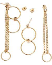 Alison Fern Jewellery - Hetty Double Gold Circle & Stud Earrings - Lyst