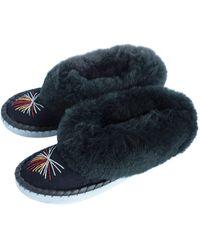 ONAIE Navy Sheepskin Slippers - Blue