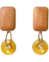 Paisie Geometric Pine Wood Earrings In Brown & Orange