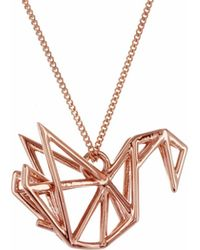 Origami Jewellery - Frame Swan Necklace Rose Gold - Lyst