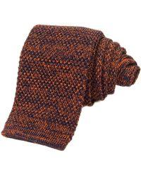 40 Colori Rust Melange Wool & Silk Knitted Tie - Red