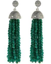 Cosanuova Sterling Silver Jade Tassel Earrings - Metallic