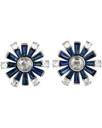Artisan 18k Solid White Gold Stud Earrings Diamond Blue Sapphire Baguette Jewellery