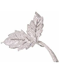 Ri Noor Two Leaf Brooch - Multicolour