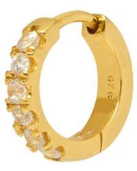 Northskull White Topaz Hoop Earring In Gold - Metallic