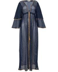 House of Dharma The Nautica Kimono Maxi - Blue