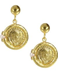 Ottoman Hands - Roman Coin And Pearl Drop Earrings - Lyst