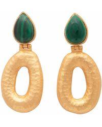 Carousel Jewels - Matte Gold Finish Malachite Earrings - Lyst