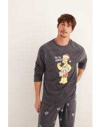 Women'secret Pijama largo hombre polar gris Homer Simpson