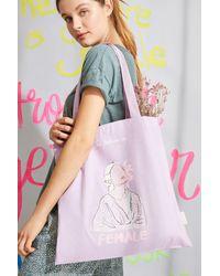 Women'secret Bolso tote tela 100% algodón estampado lila - Rosa