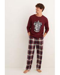 Women'secret Pijama largo hombre Hogwarts - Rojo