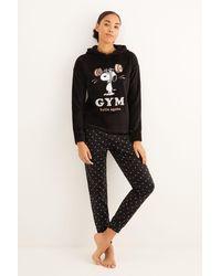 Women'secret Pijama largo polar Snoopy - Negro