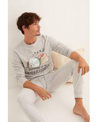 Women'secret Pijama largo hombre Asterix y Obelix gris