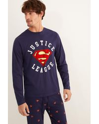 Women'secret Pijama largo hombre Liga de la Justicia - Gris