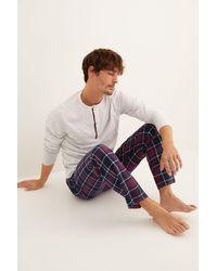 Women'secret Pijama largo hombre gris cuadros