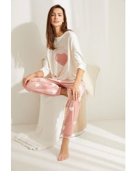Women'secret Pijama largo terciopelo corazón - Neutro
