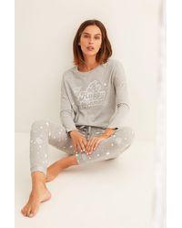 Women'secret Pijama largo gris algodón La Vecina Rubia - Rosa