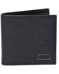 Barbour - Black Grained Leather Billfold Wallet - Lyst