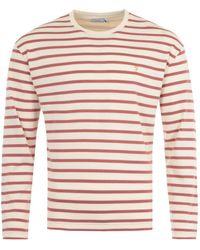 Farah Barrio Stripe Long Sleeve T-shirt - White