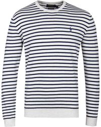 Polo Ralph Lauren - Cream Stripe Pima Cotton Jumper - Lyst