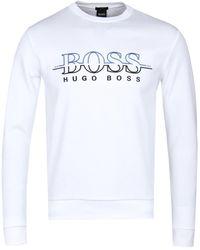BOSS Green - White Salbo Sweatshirt - Lyst