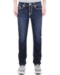 True Religion Rocco Relaxed Skinny Neon Super T Murky Tide Indigo Denim Jeans - Blue