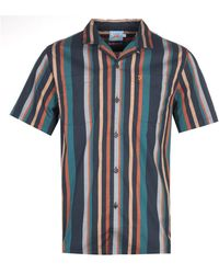 Farah Bloomfield Green Stripe Short Sleeve Shirt