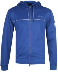 Armani Exchange Reflective Detail Electric Blue Zip-through Hoodie