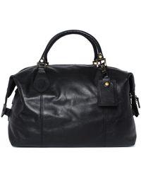 Barbour Leather Medium Explorer Travel Bag - Black